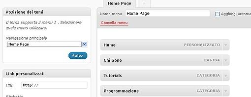 Come aggiungere il menu di wordpress 3.0 ai temi che non li supportano