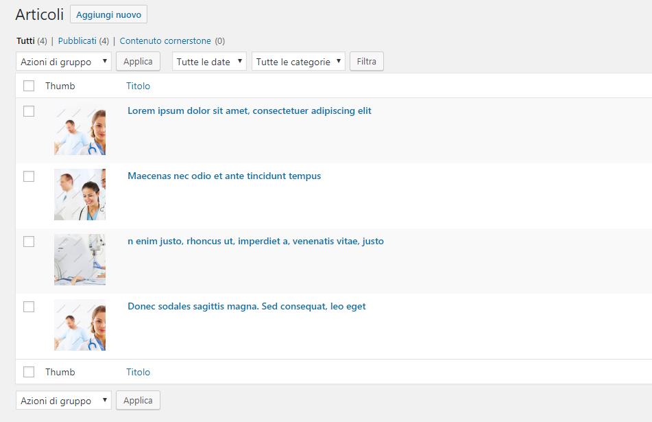 Come aggiungere miniature nella lista articoli dell'admin di wordpress